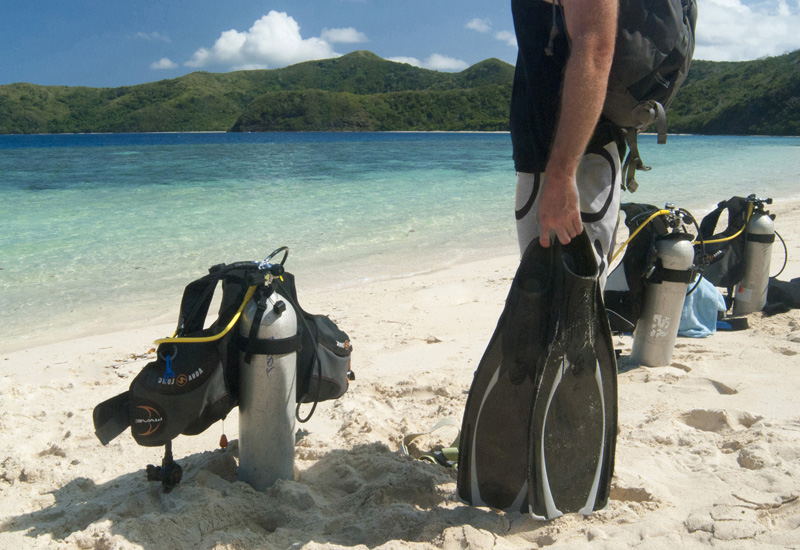 A diver gets ready for a beach dive in Jamaica